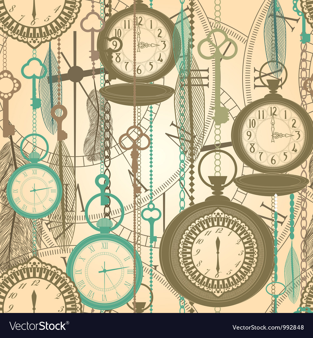 Vintage watches seamless pattern vector | Price: 1 Credit (USD $1)