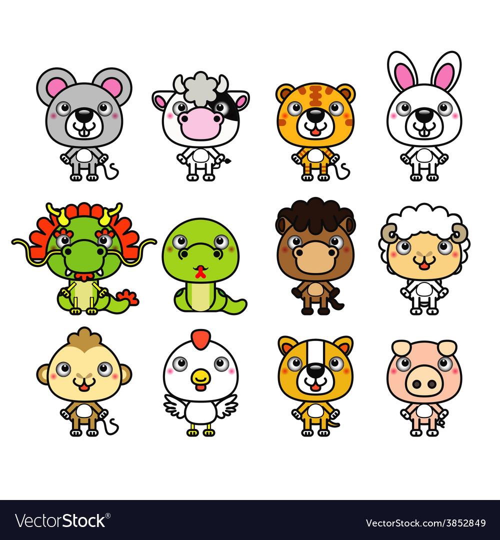 12 chinese zodiac cartoon animal vector | Price: 1 Credit (USD $1)
