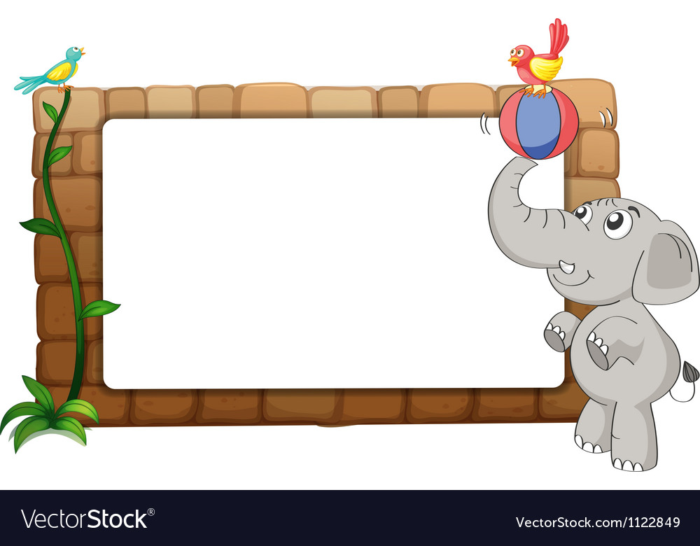 A white board an elephant and birds vector | Price: 1 Credit (USD $1)