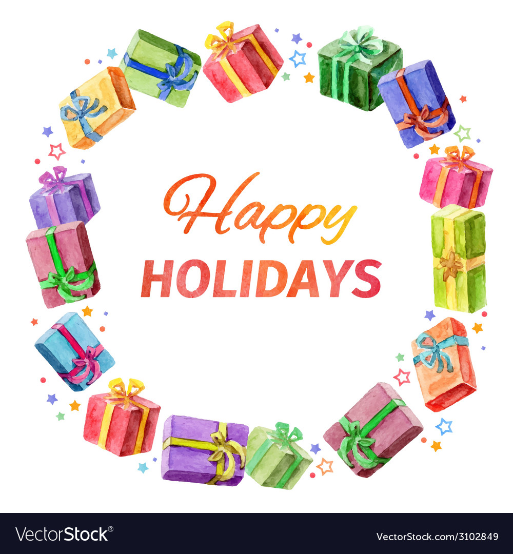 Card happy holidays square frame of gifts vector | Price: 1 Credit (USD $1)
