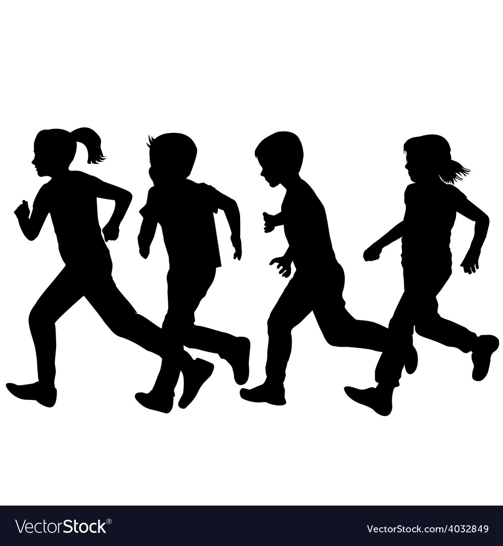 Children silhouettes running over white background vector | Price: 1 Credit (USD $1)