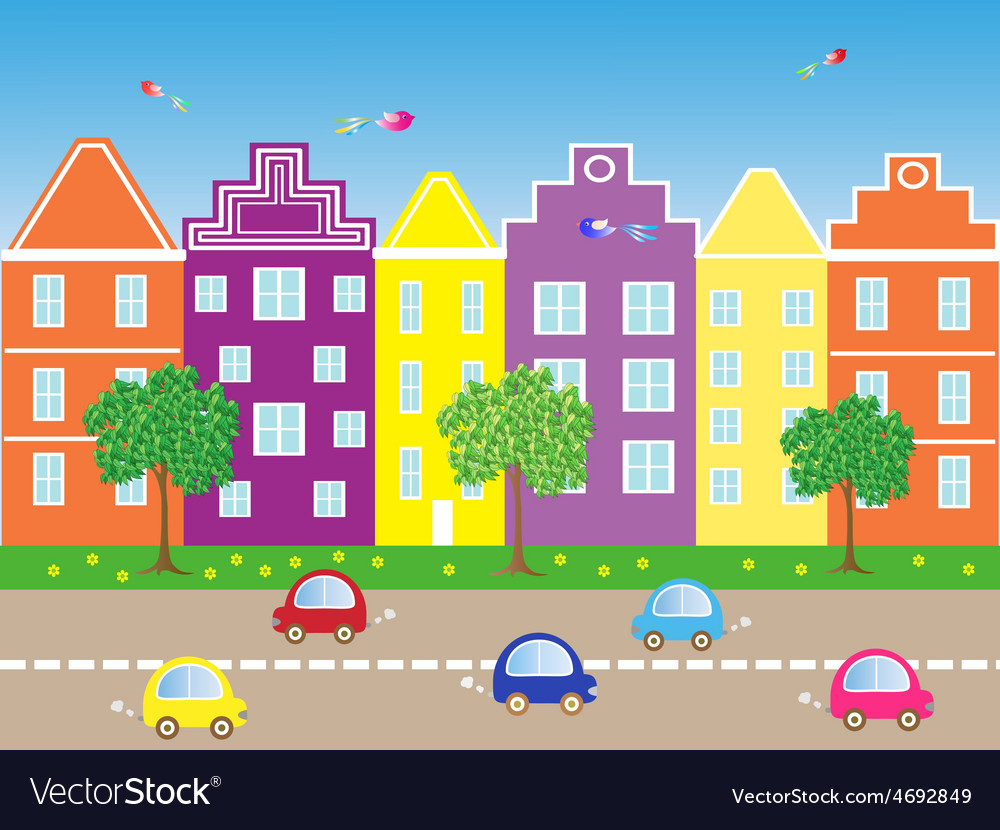 City with cars vector | Price: 1 Credit (USD $1)
