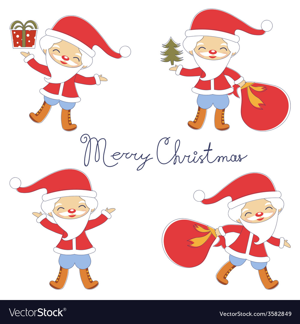 Cute santas collection vector | Price: 1 Credit (USD $1)