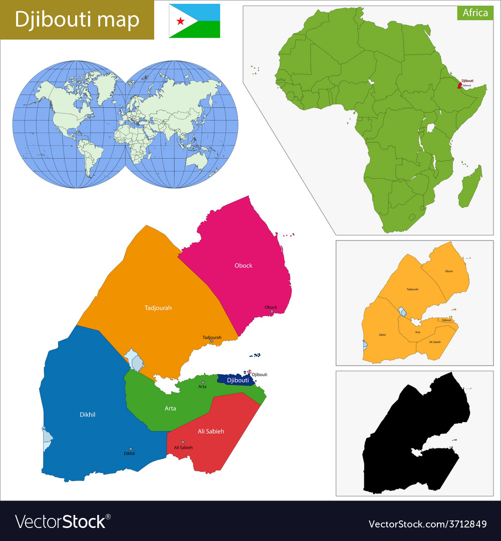 Djibouti map vector | Price: 1 Credit (USD $1)