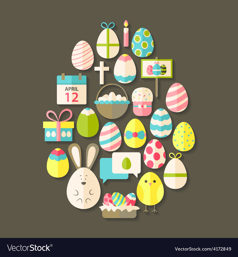 Easter flat icons set egg shaped with shadow over vector | Price: 1 Credit (USD $1)