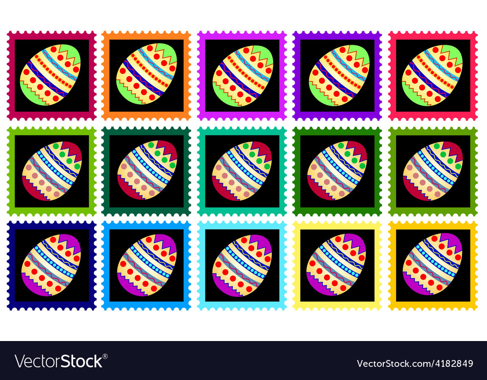 Fifteen stamps with eggs vector | Price: 1 Credit (USD $1)