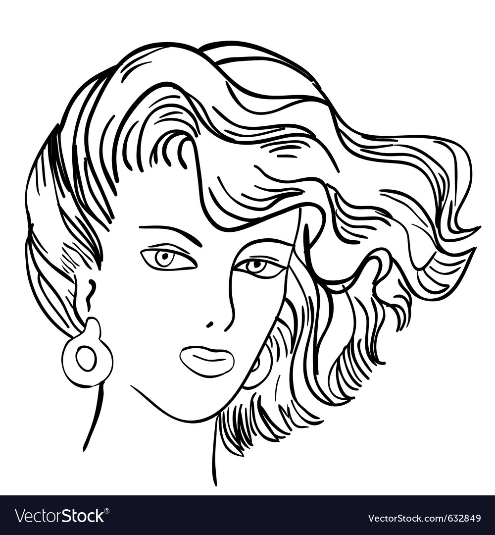 Hand-drawn fashion model womans face vector | Price: 1 Credit (USD $1)