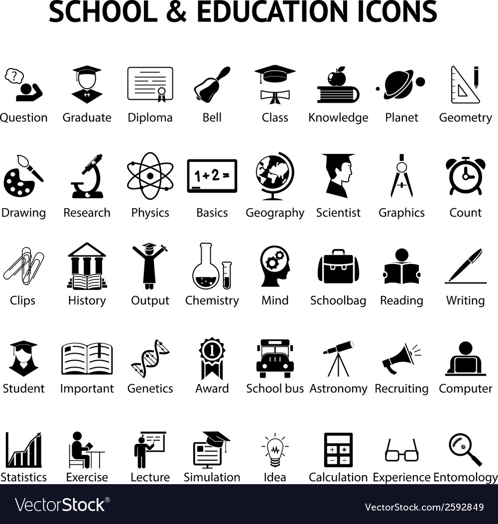 Large set of 40 school and education icons vector | Price: 1 Credit (USD $1)