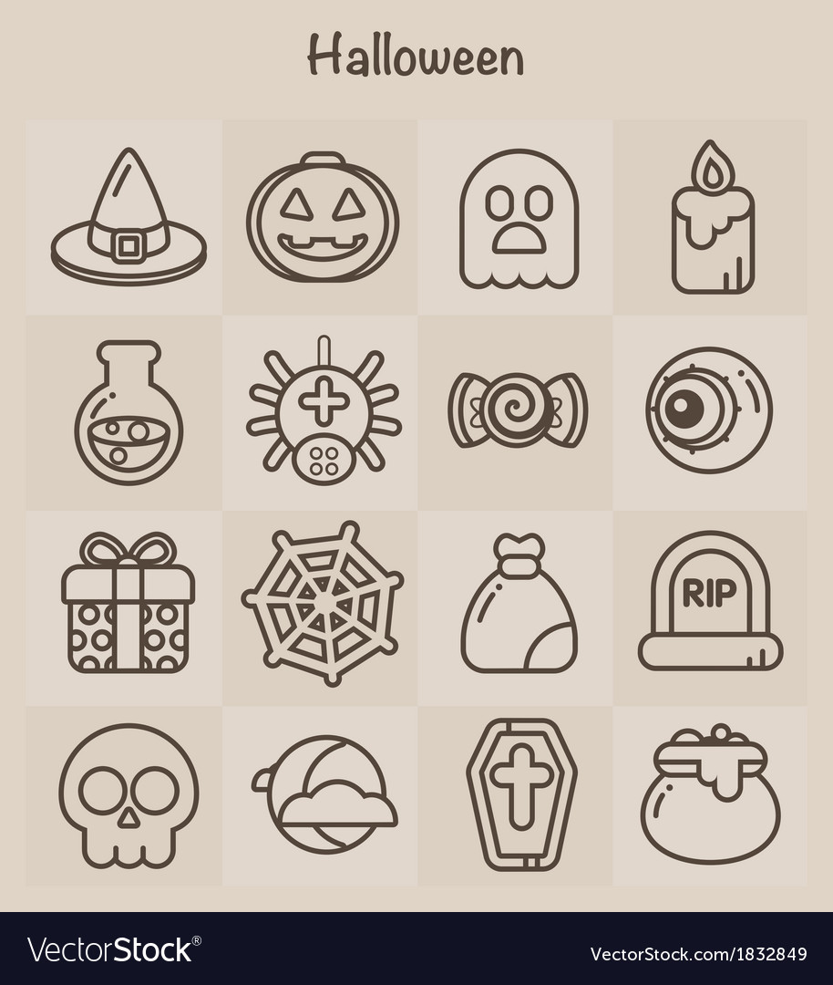 Outline icons set halloween vector | Price: 1 Credit (USD $1)