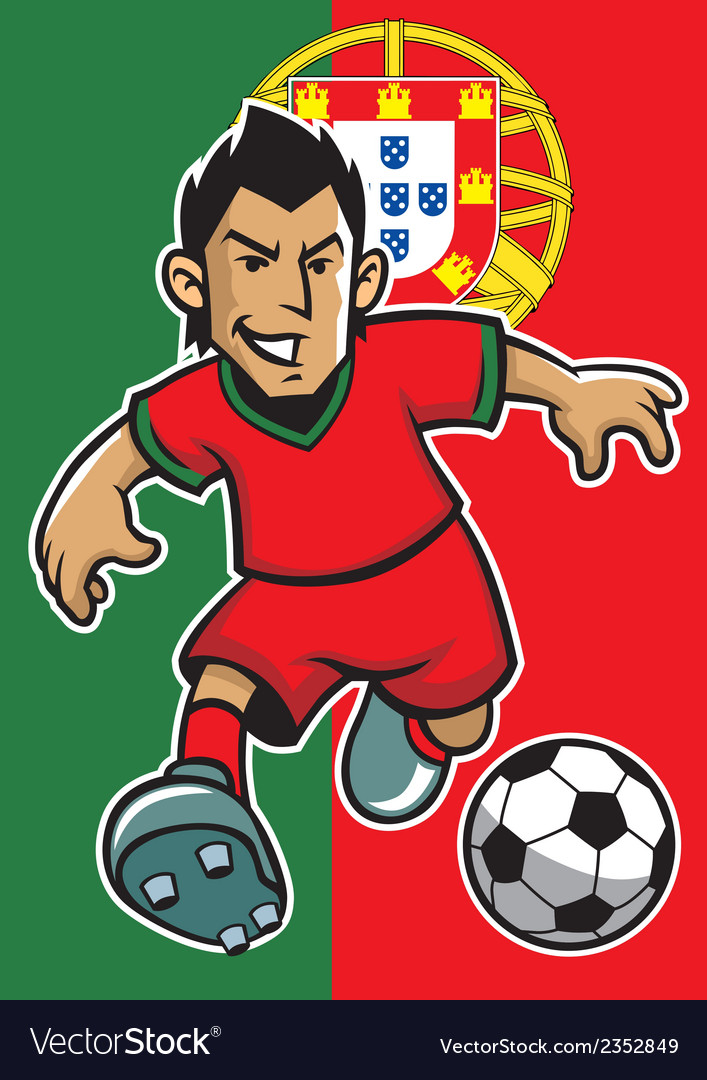 Portugal soccer player with flag background vector | Price: 1 Credit (USD $1)