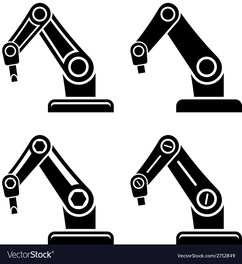 Robotic arm black symbol vector | Price: 1 Credit (USD $1)