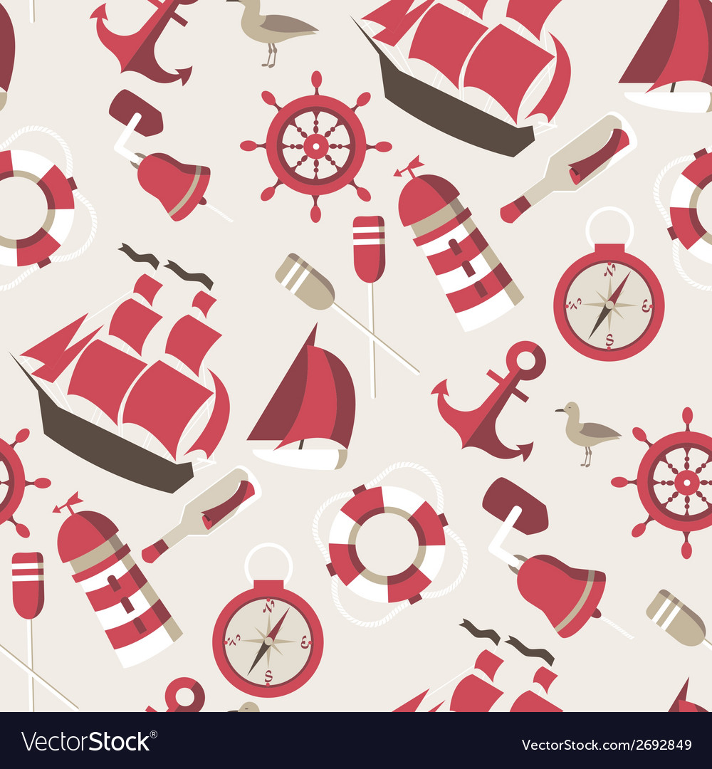 Seamless pattern on the marine theme with a ships vector | Price: 1 Credit (USD $1)