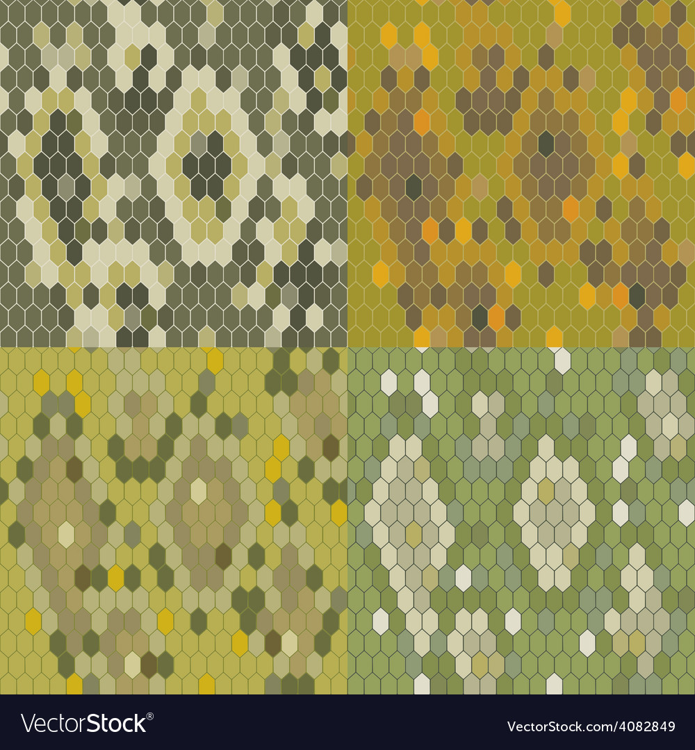 Set 4 snake skin texture seamless pattern python vector | Price: 1 Credit (USD $1)