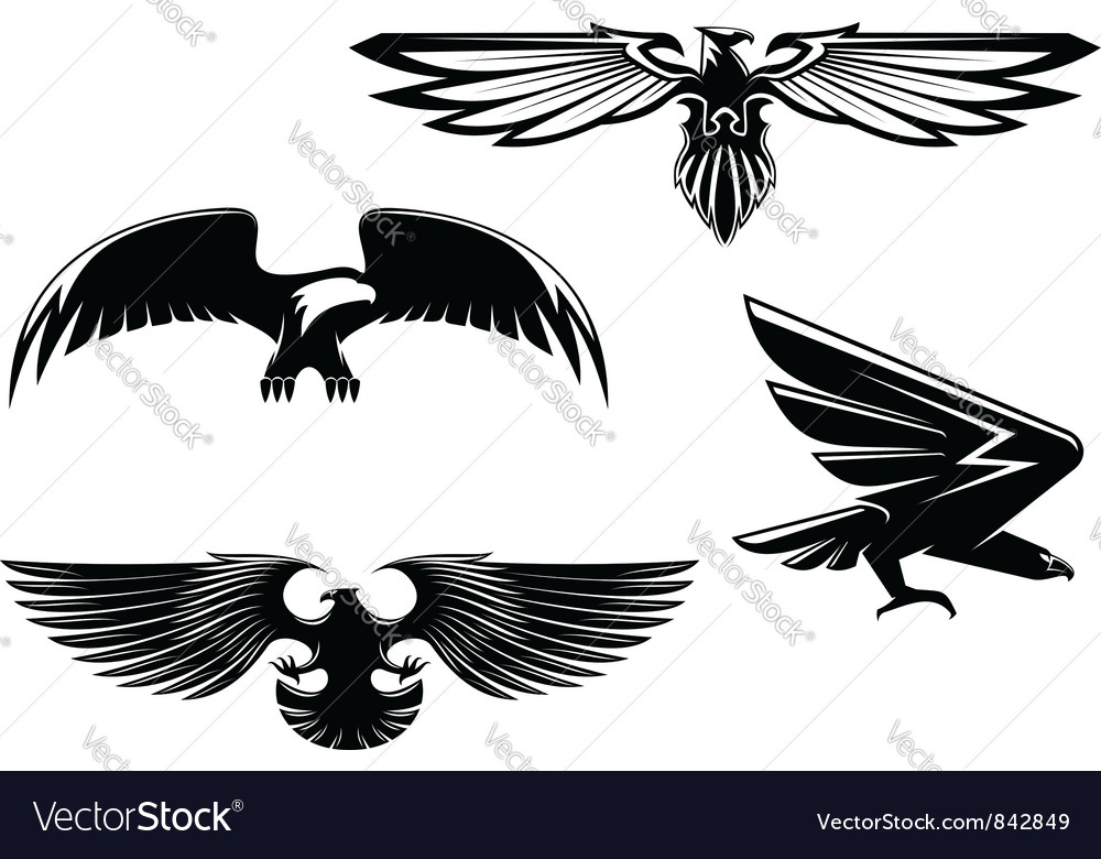 Set of heraldry eagles vector | Price: 1 Credit (USD $1)