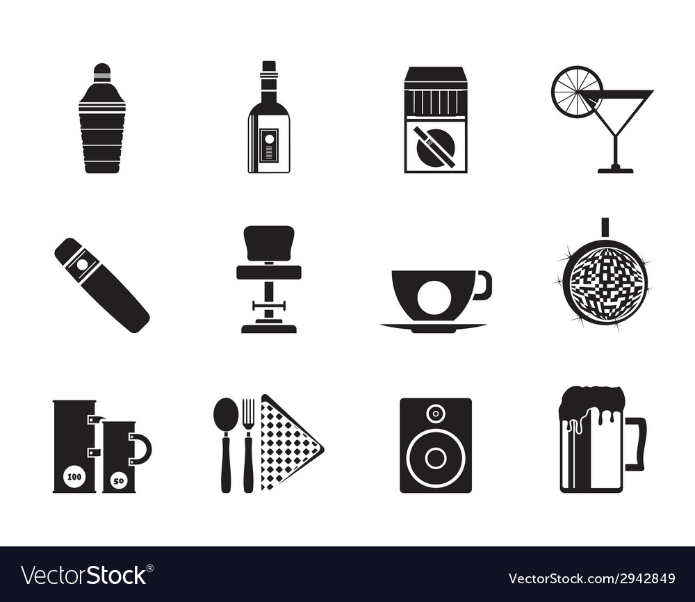 Silhouette bar and drink icons vector | Price: 1 Credit (USD $1)
