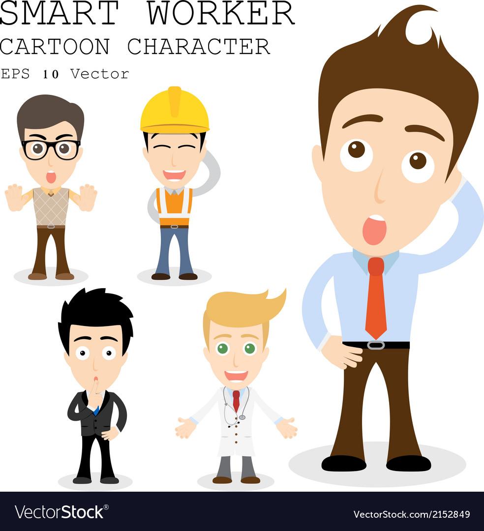 Smart worker cartoon character eps 10 vector | Price: 1 Credit (USD $1)