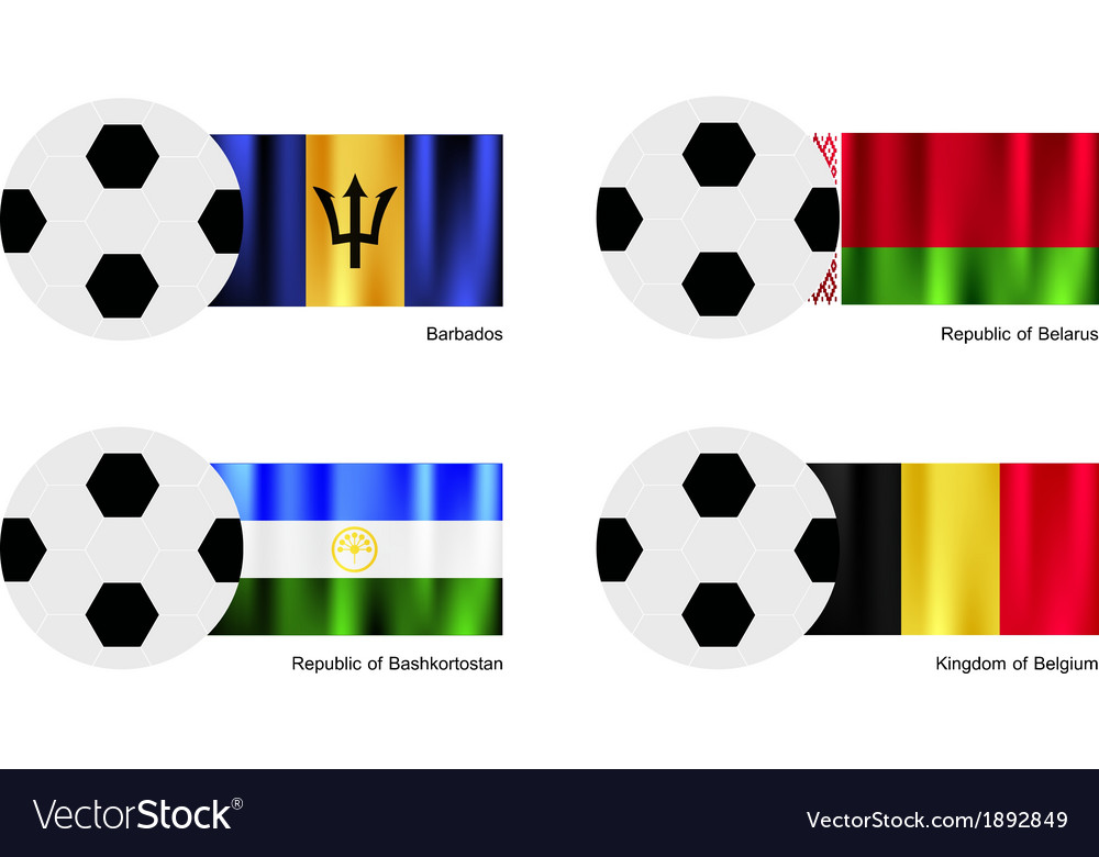 Soccer ball of barbados belarus bashkortostan vector | Price: 1 Credit (USD $1)