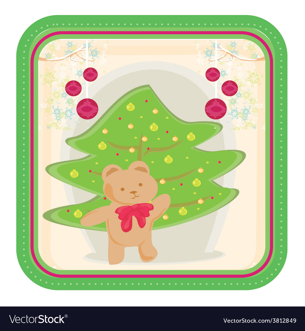 Winter background with funny teddy bear vector | Price: 1 Credit (USD $1)