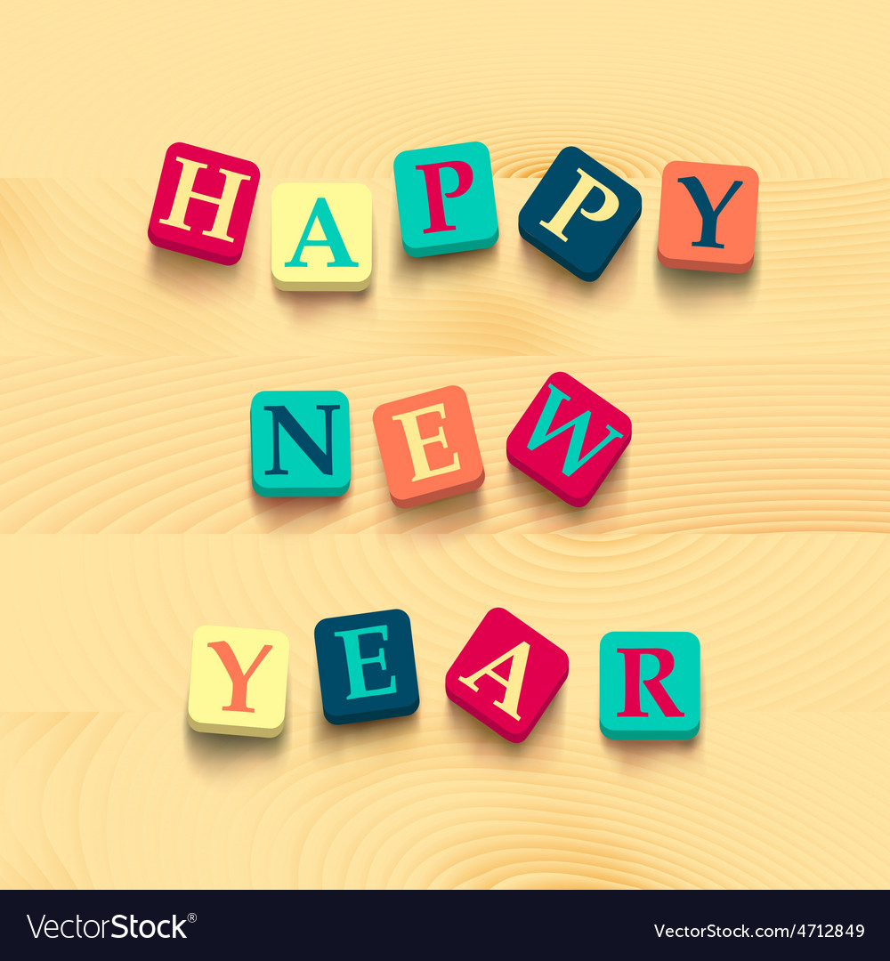 Words happy new year with colorful blocks vector | Price: 1 Credit (USD $1)