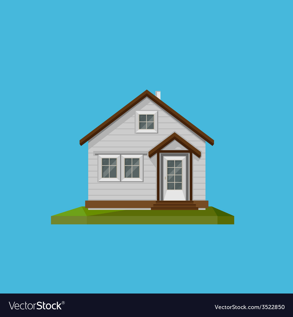 A cartoon house in in flat polygonal style vector | Price: 1 Credit (USD $1)