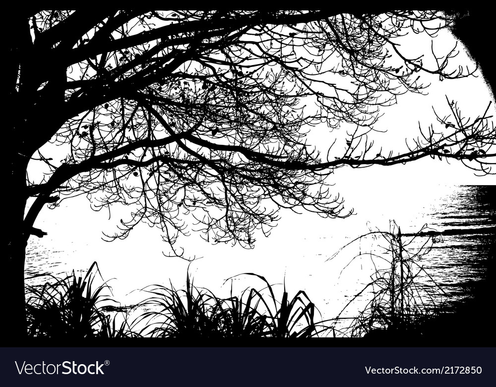 Alone tree silhouette vintage and sea vector | Price: 1 Credit (USD $1)