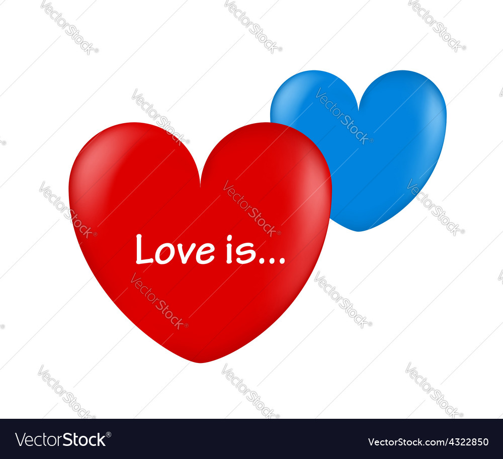 Ballon hearts red and blue love is vector | Price: 1 Credit (USD $1)