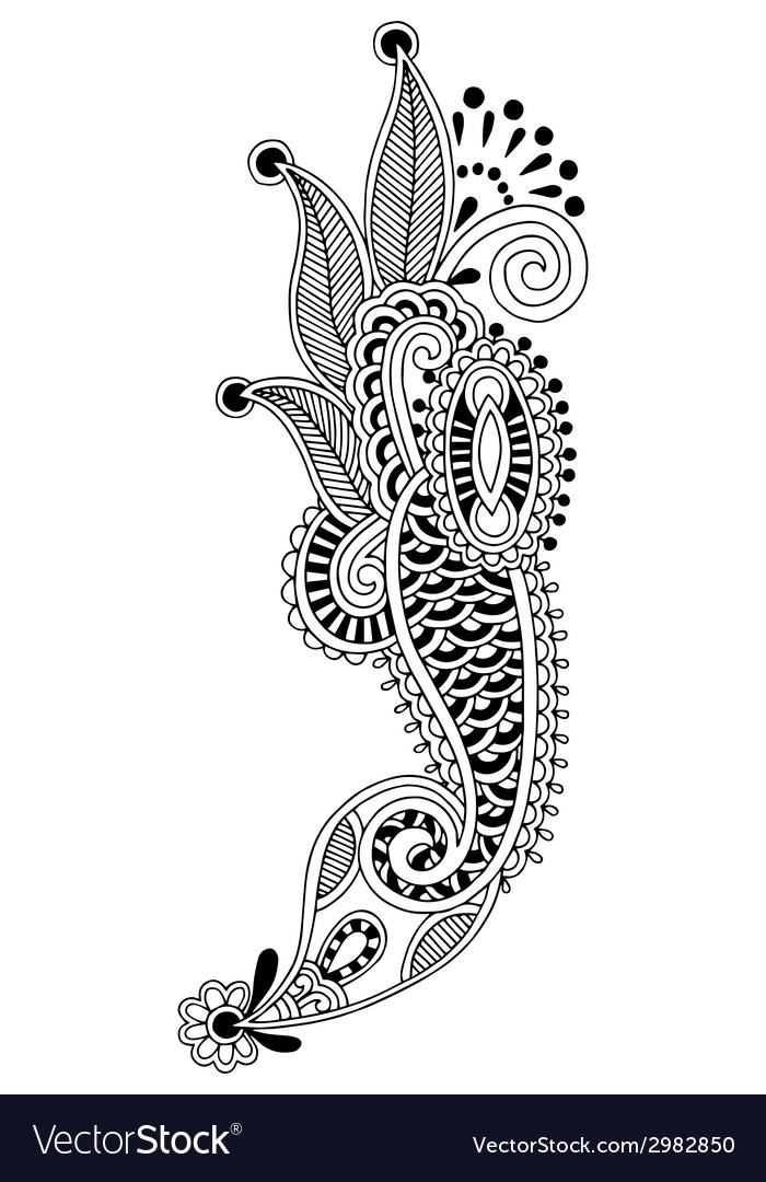 Black line art ornate flower design ukrainian vector | Price: 1 Credit (USD $1)