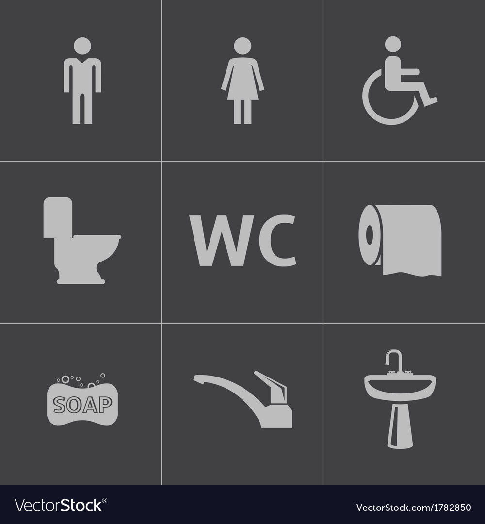 Black toilet icons set vector | Price: 1 Credit (USD $1)