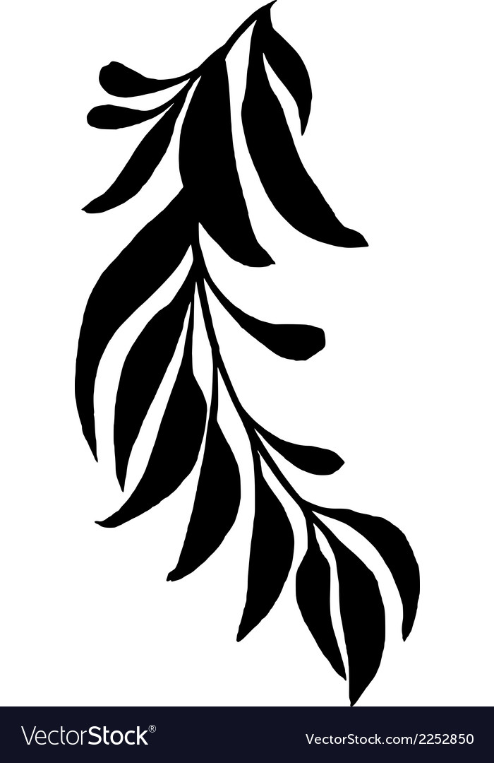Decorative silhouette branch with leaves vector | Price: 1 Credit (USD $1)