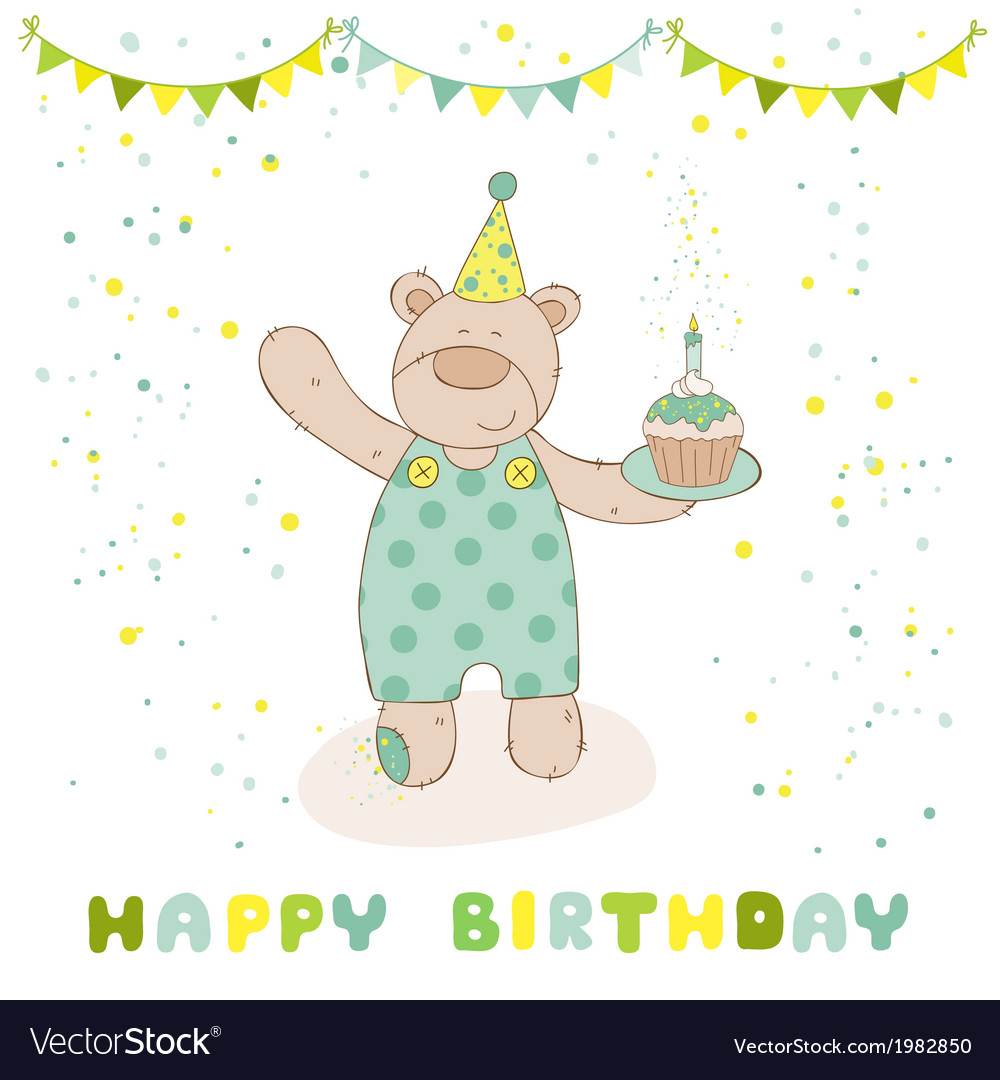 Happy birthday and party card - baby bear vector | Price: 1 Credit (USD $1)