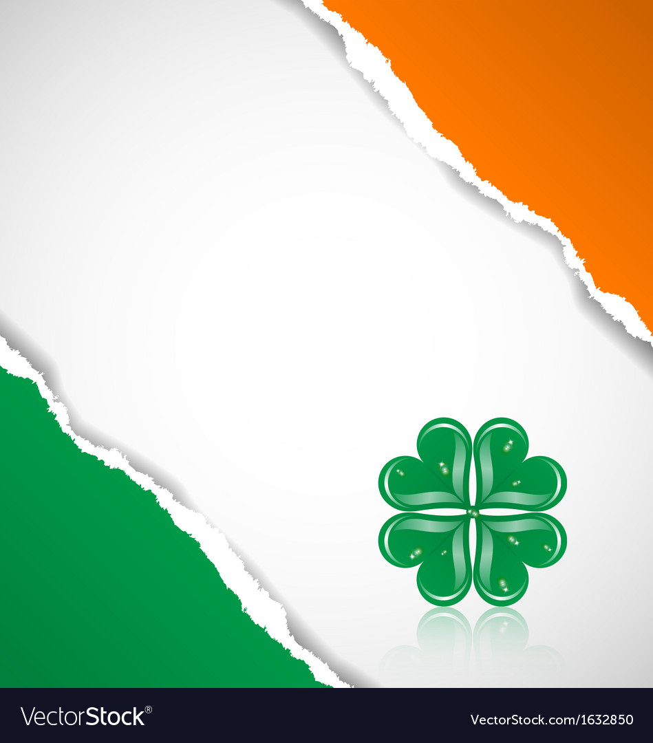 Irish flag background with clover vector | Price: 1 Credit (USD $1)