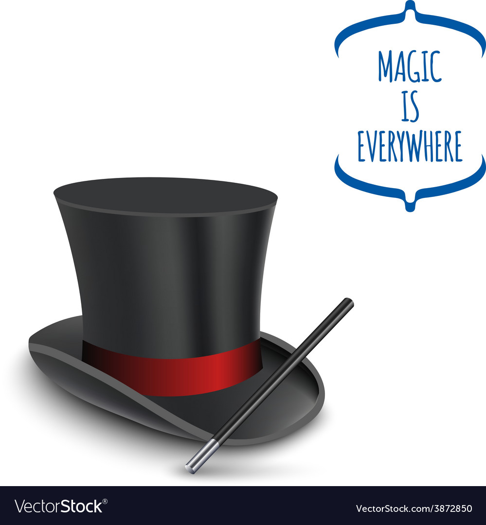 Magician top hat with stick vector | Price: 1 Credit (USD $1)