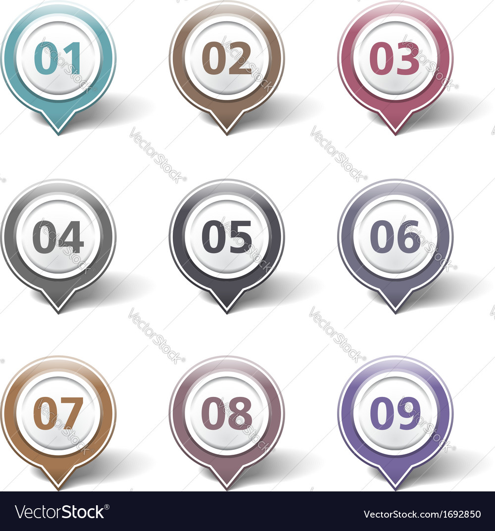 Map markers with numbers vector | Price: 1 Credit (USD $1)