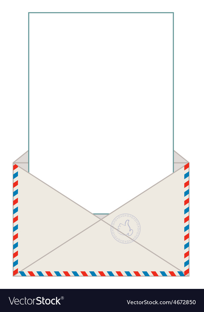 Open blank airmail envelope with rubber stamp vector | Price: 1 Credit (USD $1)