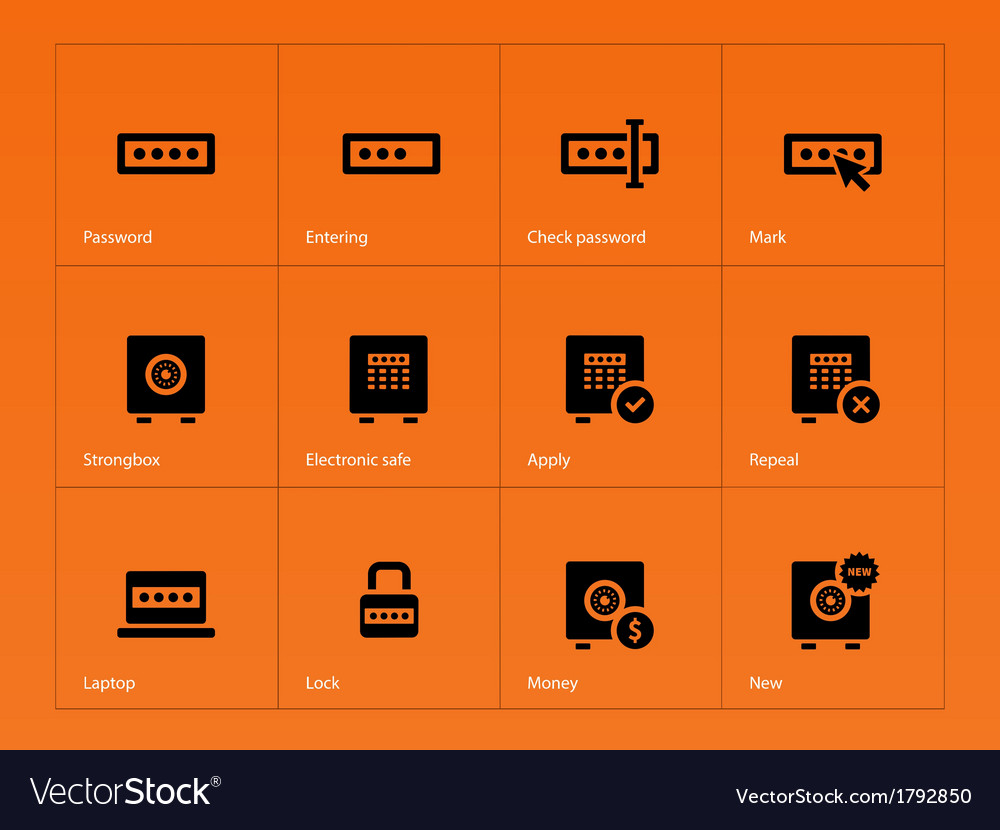 Password icons on orange background vector | Price: 1 Credit (USD $1)
