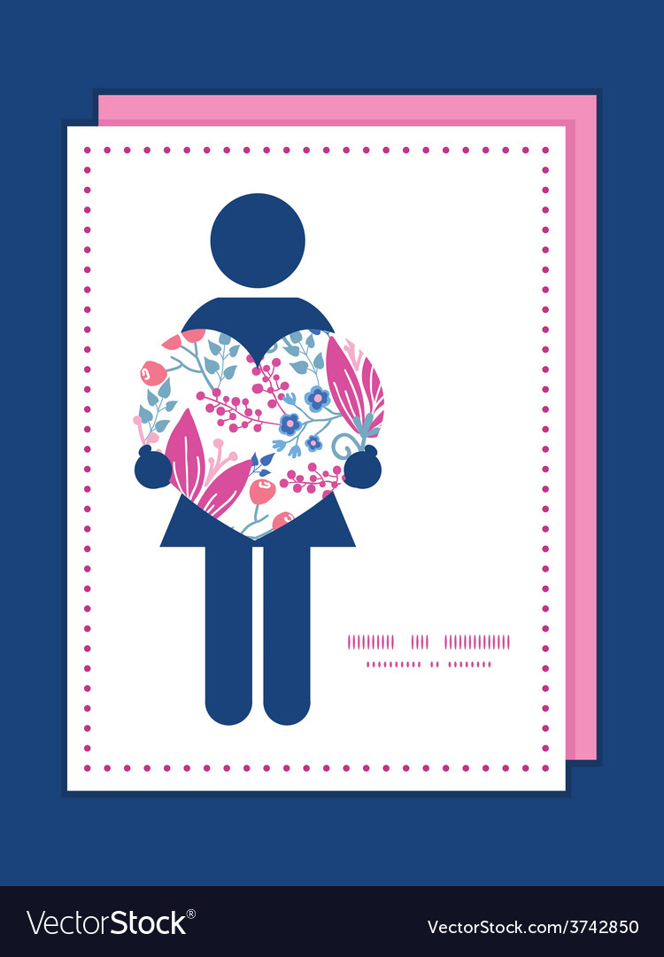 Pink flowers woman in love silhouette frame vector   Price: 1 Credit (USD $1)