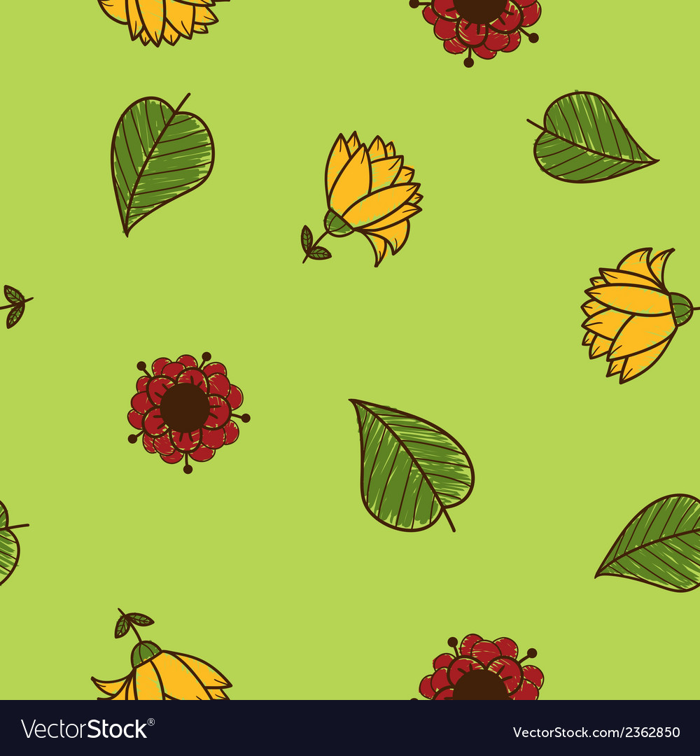 Seamless flowers pattern sketch design elements vector | Price: 1 Credit (USD $1)