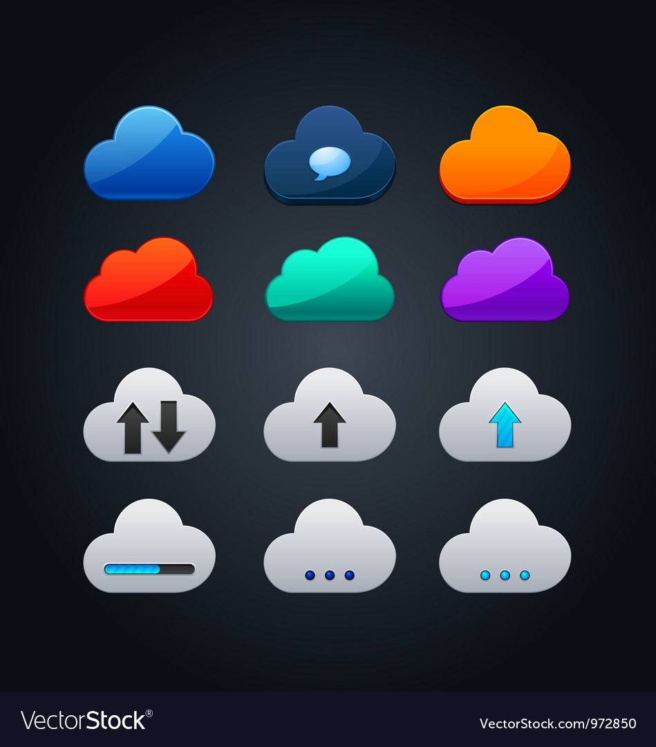Set of cloud icon computing concept design vector | Price: 1 Credit (USD $1)