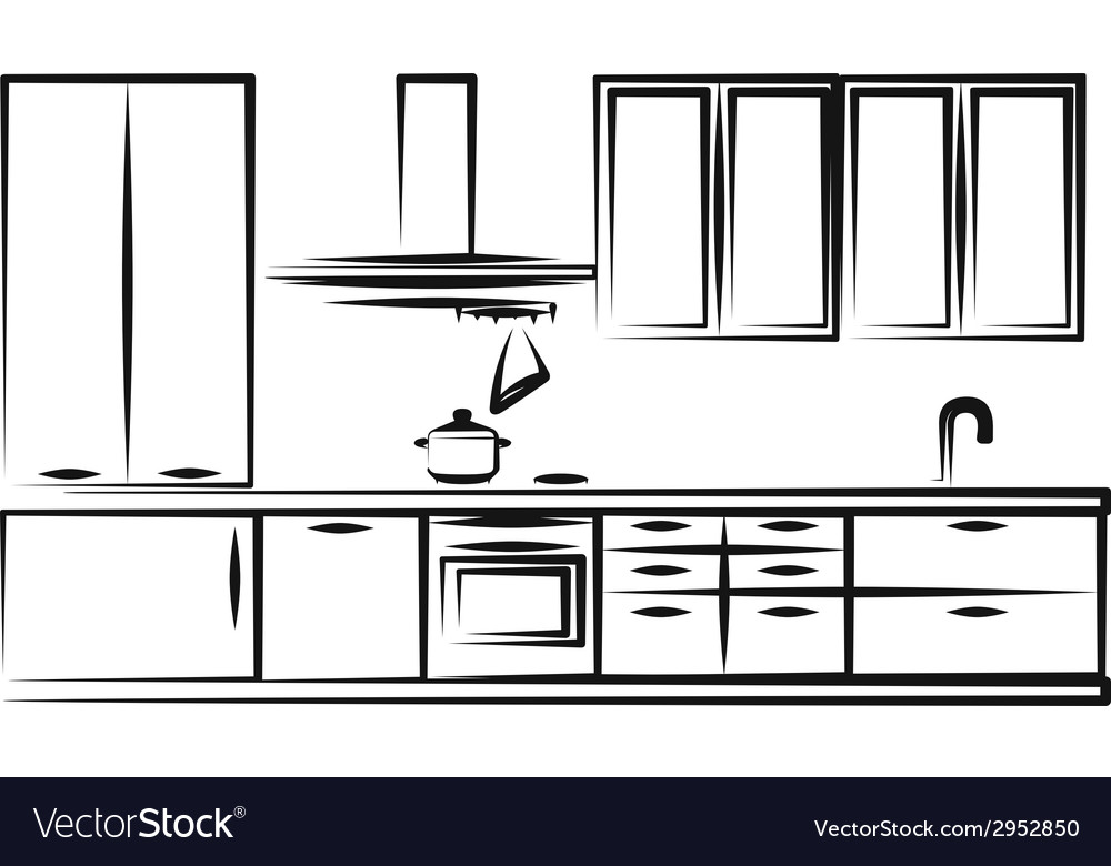 Simple of kitchen furniture vector