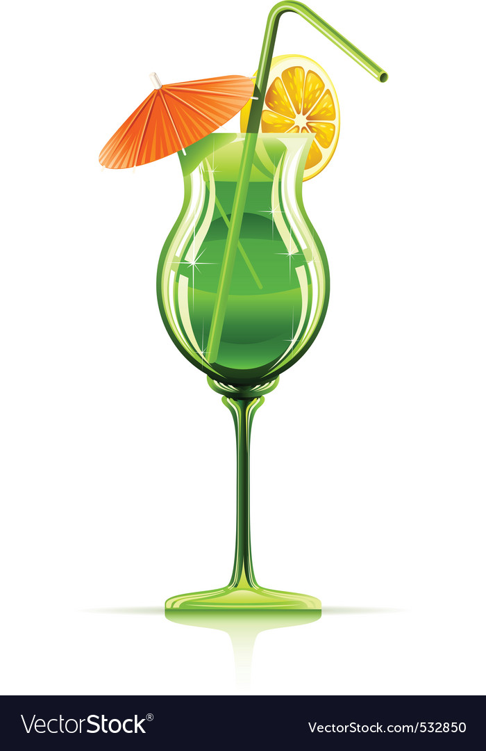 Tropical cocktail in glass vector | Price: 3 Credit (USD $3)