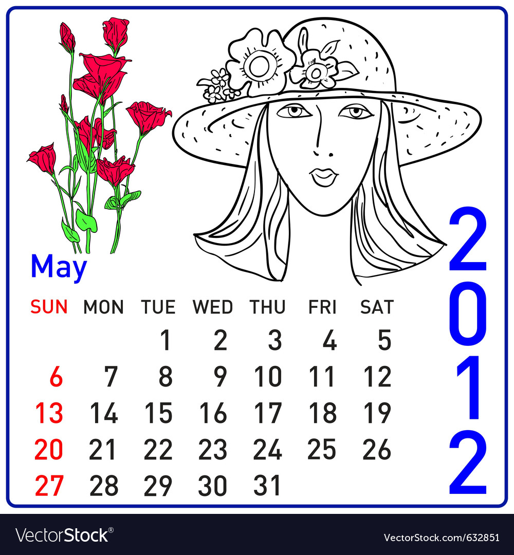 2012 year calendar in may vector | Price: 1 Credit (USD $1)