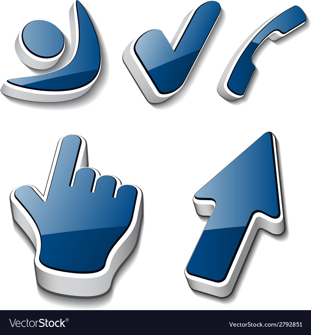 3d symbols human checkmark phone cursor vector | Price: 1 Credit (USD $1)