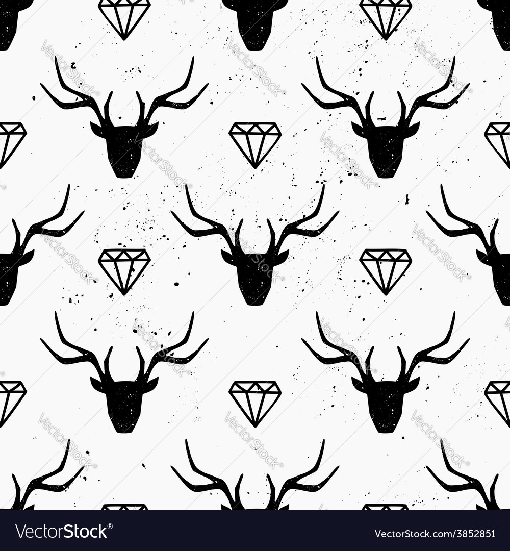 Deer heads and diamonds abstract seamless pattern vector | Price: 1 Credit (USD $1)