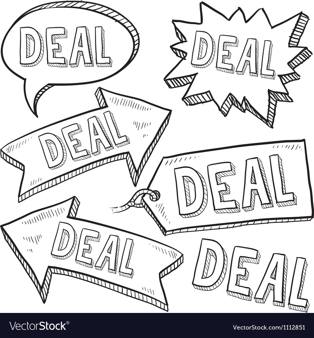 Doodle label tag deal vector | Price: 1 Credit (USD $1)