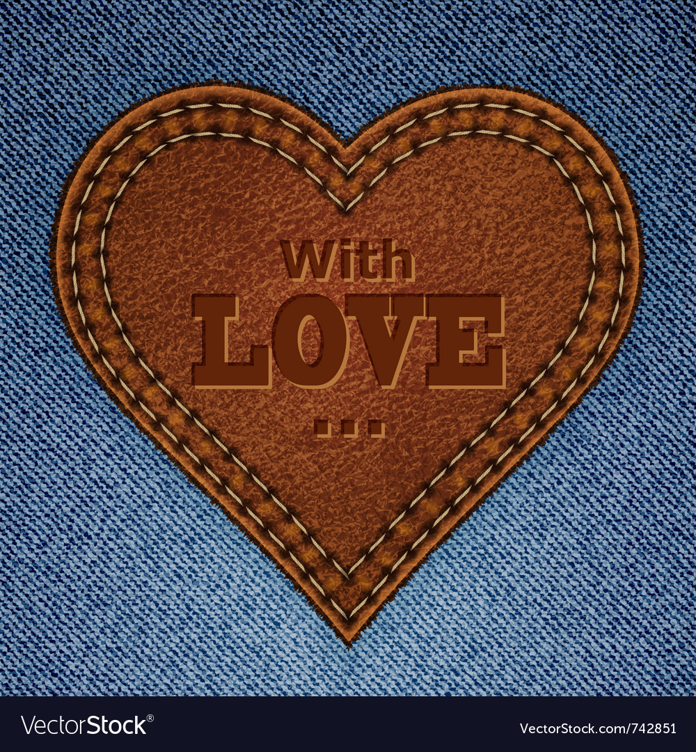 Leather heart on jeans vector | Price: 3 Credit (USD $3)