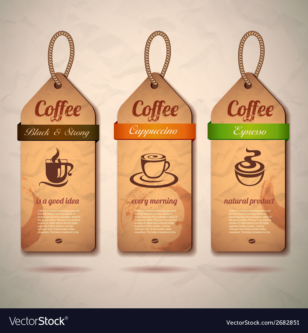 Set of vintage decorative coffee labels vector | Price: 1 Credit (USD $1)