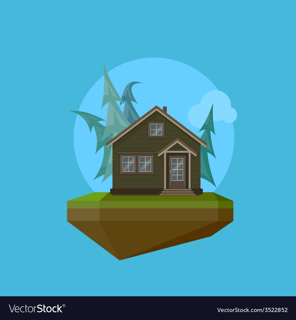 A cartoon house in flat polygonal style and flying vector | Price: 1 Credit (USD $1)