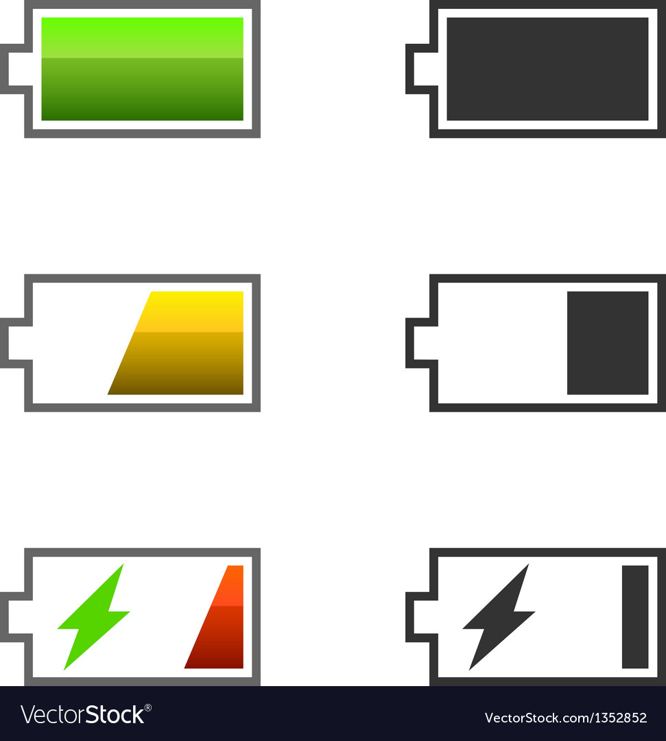 Battery charge icons vector | Price: 1 Credit (USD $1)