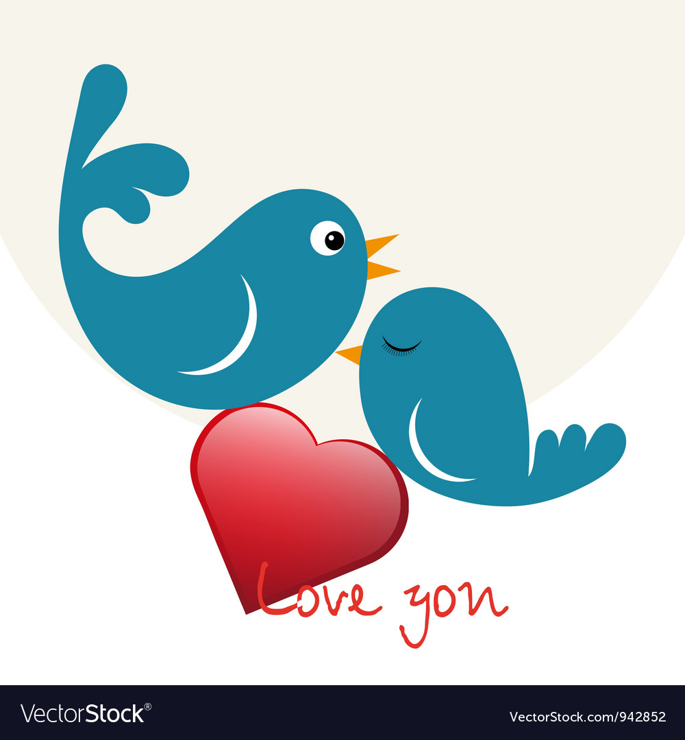 Beautiful birdie in love vector | Price: 1 Credit (USD $1)