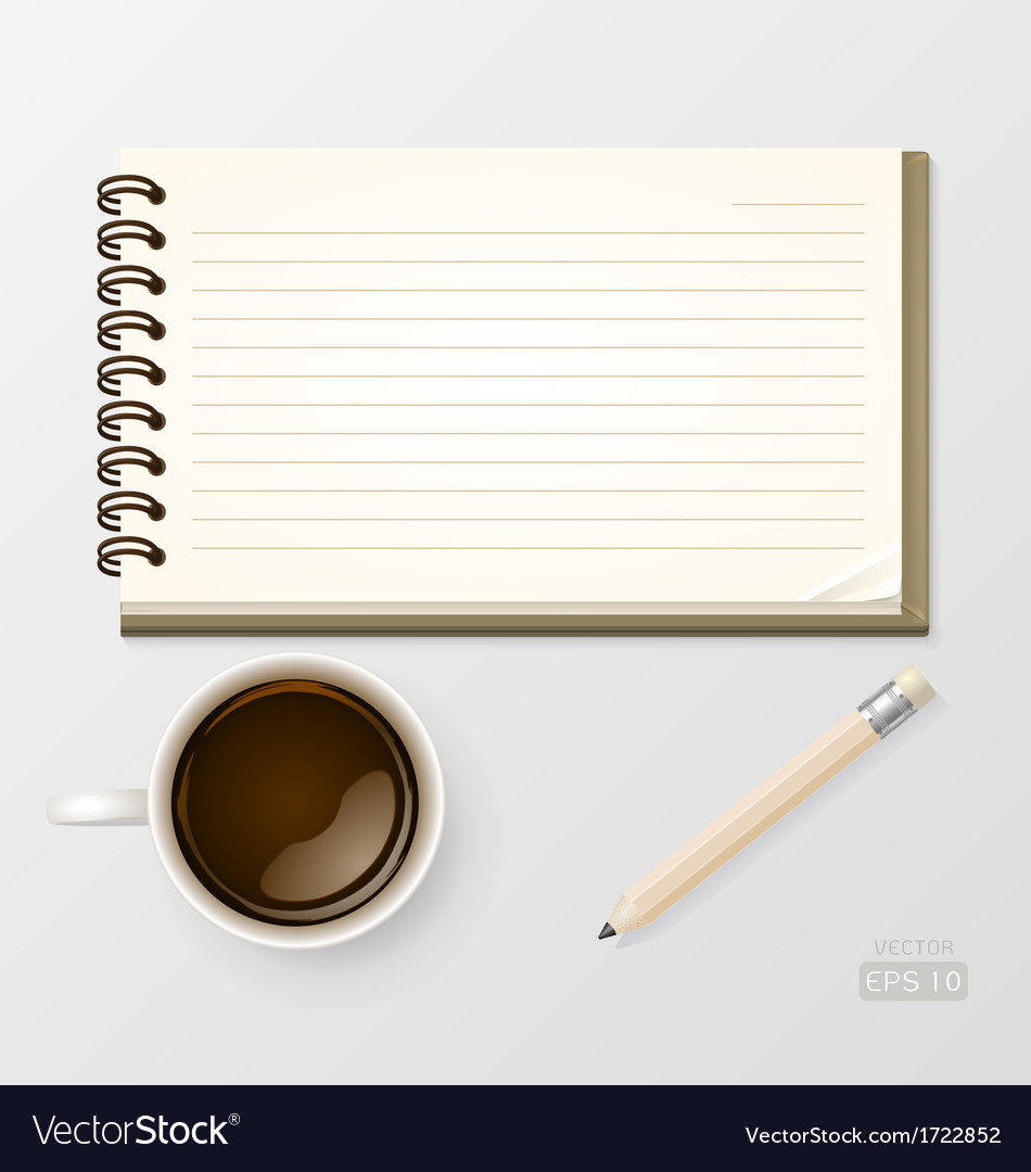 Coffee with notebook and pencil vector | Price: 1 Credit (USD $1)